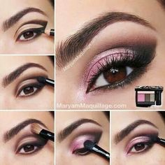 Simple But Dramatic Smokey Eye MakeUp Tutorial - Modish Make Up - Pink Eye Makeup Looks, Beautiful Eye Makeup, Pretty Makeup, Love Makeup, Beauty Makeup, Hair Makeup, Pink Makeup, Pink And Black Eye Makeup, 1980 Makeup