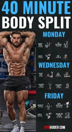 A training split is how you organise your training over a period. 3 Day Workout, Push Pull Workout, Workout Splits, Full Body Workout Routine, Gym Workout Tips, Workout Videos, Workout Routines, Workout Motivation, Workout Girls