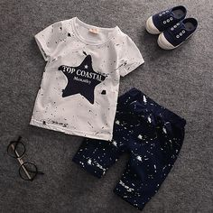 5.34$  Watch now - http://aliw0y.shopchina.info/go.php?t=32806961979 - 2017 Summer Children Shorts Suits Casual Cotton Printed Boys Clothes Girls Clothes Star Letter Toddler Children Clothing Set  5.34$ #SHOPPING