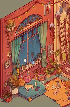 Pretty Art, Cute Art, Aesthetic Art, Aesthetic Anime, Illustrations, Illustration Art, Isometric Art, Dibujos Cute, Kawaii Art