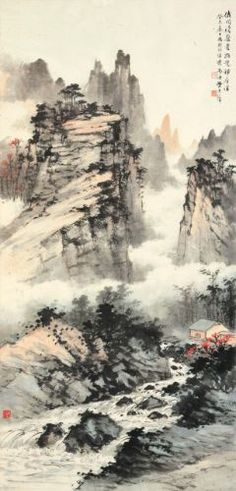 huang junbi hermitage amid fo landscape - The world's most private search engine Asian Landscape, Chinese Landscape Painting, Japanese Landscape, Chinese Painting, Chinese Art, Landscape Art, Landscape Paintings, Ink Paintings, Painting Art