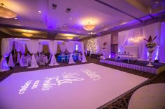 Write a message on your dance floor with a spotlight and gobo!