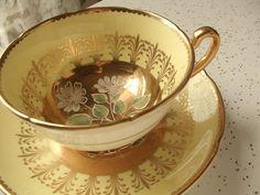 vintage yellow tea cup and saucer set Royal by ShoponSherman,