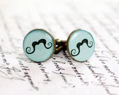 Men cufflinks - Mustache party cufflinks - Moustache Cuff links for him - Free Shipping. $23.00, via Etsy.