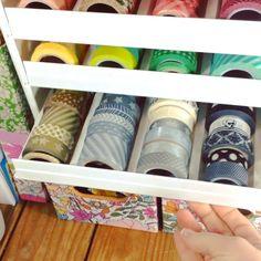 washi tape storage using a spice rack - bjl