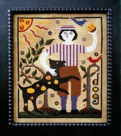 """""""Jeremiah"""" is the title of this cross stitch pattern from Carriage House Samplings that is part of the series from the designer titled """"The Boys"""". I love Jeremiah and his dog Spot!"""