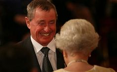 """John Nettles accepts his OBE from QE2. """"Barnaby."""" <3 #midsomermurders"""