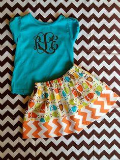Girls Skirt Owls and Orange Chevron made to order by ThatsPresh, $15.95