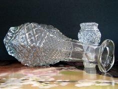 Vintage Glass Decanter Wexford Diamond Point by NostalgicFair Vintage Shops, Vintage Items, Diamond Point, Snowflake Designs, Anchor Hocking, Star Patterns, Diamond Pattern, Decanter, Etsy Shop