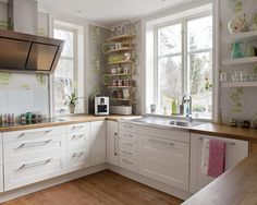 Beauteous Ikea Small Kitchen Design : Astounding Ikea White Wall Decor Kitchen Design Inspiration With Wooden Floor U Shaped Styles Spaces
