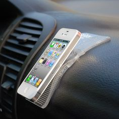 Like a gecko's feet, this advanced silicon material grips everything from iPads to Sat Navs. Just slap it on your dashboard and place your items on top.