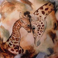 """Mutterliebe"" by Beatrice Gugliotta, Animals, Emotions: Love, Painting Age, Giraffes, Art Work, Cards, Animals, Friends, Mothers Love, Animal Pics, Painting Art"