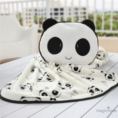 Cute Panda Coral Fleece Blanket For Kids Cartoon Comfortable Flannel Manta Cushion With Pillows Home Travel Blanket For Sleeping