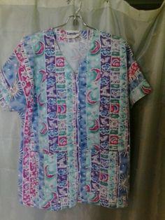 Women's Short Sleeve Scrub Jacket Print Size Medium