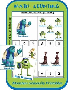 Counting with Monsters University Printables