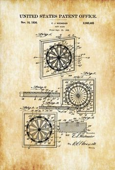 Game Room Decor, Wall Decor, Game Art, Steampunk Necklace, Steampunk Diy, Patent Office, Patent Drawing, Bra Pattern, Dart Board