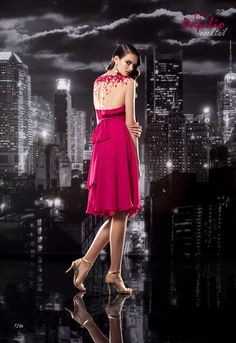"""Cocktail dress with beautiful back, from """"City Light"""" evening fashion collection."""