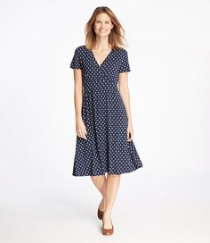 Summer Knit Dress Short Sleeve Dot Misses'