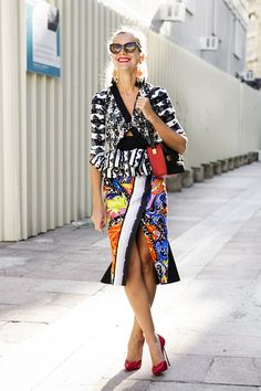 Natalie Joos of Tales of Endearment wearing: Peter Pilotto Skirt and Top, Delvaux bag, Ellery sunglasses.