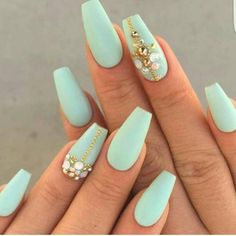 Pistachio Nail Art with plenty of bling. 10 gorgeous nails and manicure ideas for this spring | Fab Fashion Fix. #nails #manicure #spring #springbeauty #beautyblogger #fabfashionfix #pinknails #essie #nailpolish #lavender #OPI #OPInails #matte #mattenails