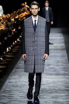 longline vest over pinstripe suit   Dior Homme - Fall 2015 Menswear - Look 29 of 48