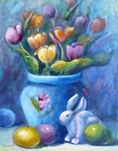 easter paintings | Life Painting by Carolyn Jarvis - Easter Still Life Fine Art Prints ...