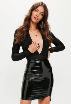 195c79ccc08c99 Black High Waisted Split Front Vinyl Mini Skirt