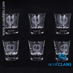 boxed set of six dram glasses with the Armstrong clan crest - from ScotClans