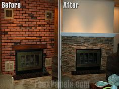 fireplace remodel stone over brick - Google Search