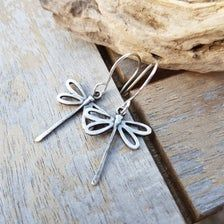 Sterling silver dragonfly earrings dragonfly jewelry silver | Etsy