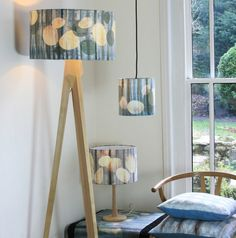 Large Standard Lampshade (45cm) Hand dyed, Hand screen printed, Grey Blue Brown £73.00