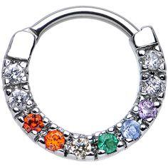 "16 Gauge 3/8"" Multi CZ Wreath of Sparkle Septum Clicker | Body Candy Body Jewelry"