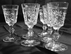 Cut crystal sherry glasses