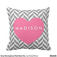 Gray Herringbone Pink Heart Name Pillow