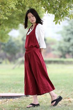 Red Linen Halter-Neck Dress  Maxi Long Dress with by YL1dress