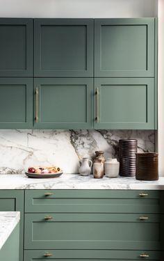 Westwood Residence — Avenue Home Decor Kitchen, Interior Design Kitchen, Home Design, New Kitchen, Home Kitchens, Dark Green Kitchen, Mint Kitchen, Green Interior Design, Brass Kitchen