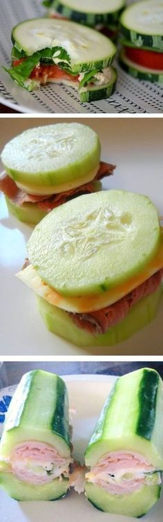 Diet Snacks HESENİKO: Talk about a low carb diet! These delicious cucumber sandwiches are the perfect snack to cure the hunger pains. Low Carb Recipes, Diet Recipes, Snack Recipes, Cooking Recipes, Healthy Recipes, Protein Recipes, Protein Foods, Recipies, Protein Cake