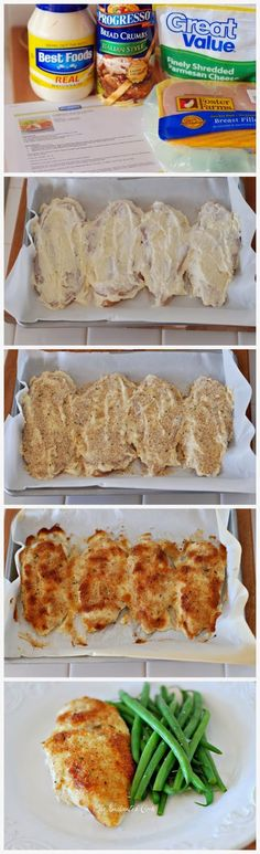 Parmesan Crusted Chicken. Mayo/Cheese mixture covered 3 breast perfectly. Added 1/3 Par instead of 1/4. Cooked for 25mins.