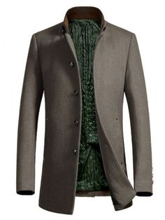 Metal Button Embellished Stand Collar Woolen Coat - CAMEL L