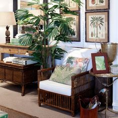Bermuda rattan armchair with palm tree prints. Beautiful tropical feel.