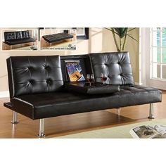 Furniture of America Yorkville Modern Bicast Leather Sofa/ Sofabed with Drop-down Tray - Overstock Shopping - Great Deals on Furniture of America Sofas & Loveseats