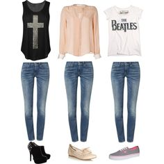 """""""3 Ways to Wear Blue Jeans"""" by abbyxo7 on Polyvore"""