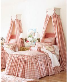 Sweet pink gingham, such a sweet girls room
