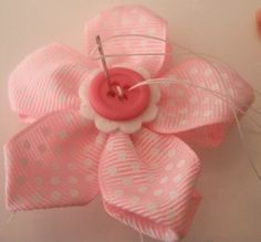Flowers made from ribbon with buttons tutorial :)