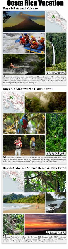 All the must see destinations - Arenal Volcano, Monteverde Cloud Forest and the beaches, wildlife and rainforest of Manuel Antonio in one perfect vacation http://costa-rica-guide.com/trips/vacation/paradise-discovered/