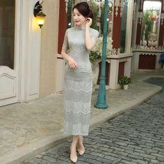 Light Gray Vintage Chinese Classic Style Women's Long Cheongsam Lace Qipao Dress Flower Mujer Vestido Size S M L XL XXL C27462