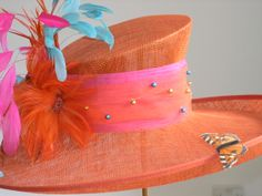 Orange wedding hat by Jenny Edwards-Moss