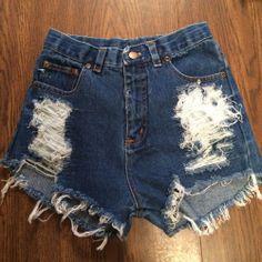 distressed high waisted shorts #Handmade #highrise