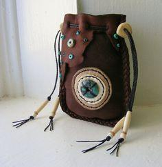 OLD WEST Deerskin leather Native American style Medicine bag man bag talisman shaman Deer antler Turquoise Beaded Purses, Beaded Bags, Leather Pouch, Leather Purses, Men's Leather, Mojo Bags, Medicine Bag, Native American Fashion, Deer Skin