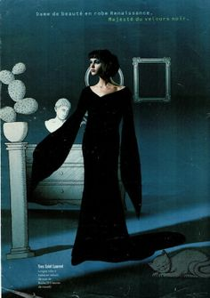 Dream of a Magical Night | 90s Haute Couture photographed by Jean-Marie Périer and illustrated by Pierre Le-Tan